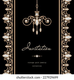 Vintage gold background, invitation template, vector jewelry frame with seamless borders on black, eps10