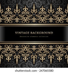 Vintage gold background, ornamental vector frame with golden seamless borders over pattern