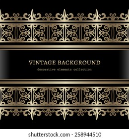 Vintage gold background, ornamental vector frame with seamless lace borders