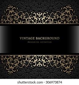 Vintage gold background, ornamental vector frame with golden borders over pattern