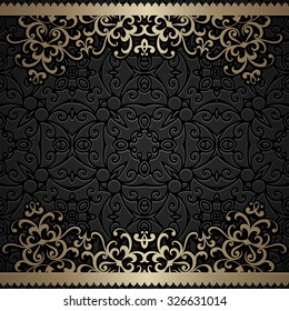 Vintage gold background, ornamental vector frame with gold swirly borders