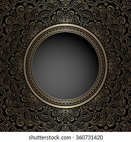 Vintage gold background with round hole, vector ornamental frame template