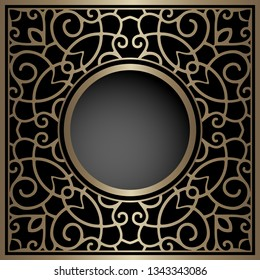 Vintage gold background with swirly pattern, ornamental golden frame, vector filigree decoration on black