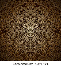 Vintage gold background, vector filigree seamless pattern