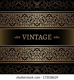 Vintage gold background, vector frame with seamless border ornament, eps10