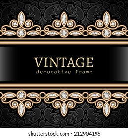 Vintage gold background, vector jewelry frame with seamless borders, eps10
