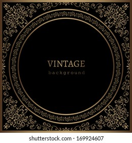 Vintage gold background, vector ornamental frame template on black