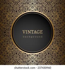 Vintage gold background, vector ornamental frame template