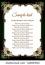 Vintage gold background, vector rectangle emerald jewelry frame with ornamental border, greeting card or invitation template