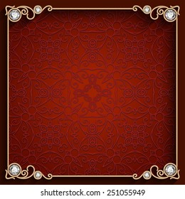 Vintage gold background, vector square jewelry frame, eps10