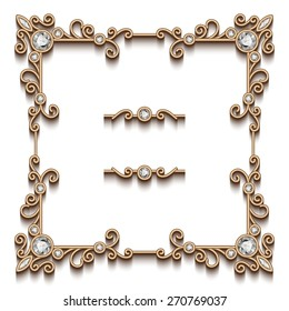 Vintage gold background, vector square jewelry frame on white, eps10