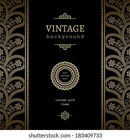 Vintage gold background, vertical vector frame with seamless border ornament and label on black