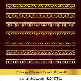 Vintage Gold Border Frame Vector Collection 81