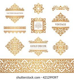 Vintage gold borders and frames, set of decorative design elements, golden vector embellishment on white