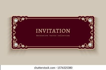 Vintage gold card with jewelry border ornament, elegant jewellery decoration for wedding invitation or visiting card design with place for text, vector illustration