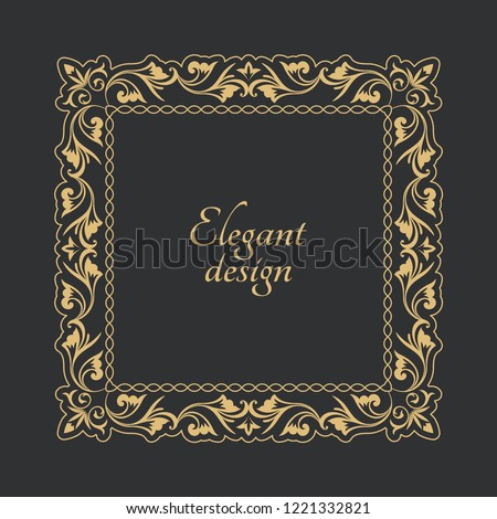 08a0ad7ce549 Vintage gold frame in Baroque style. Decorative ancient ornament. A flower  rectangular shape for