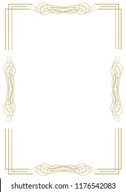 Vintage gold frame with graceful ornamental elements and lines on a white background. Vector illustration