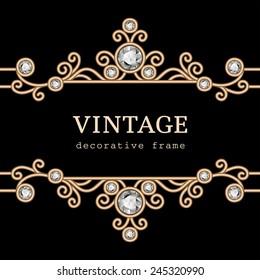 Vintage gold frame on black, vector jewelry background, eps10