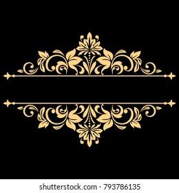 Vintage gold frame on a black background. Graphic vector design. Damask graphic ornament.