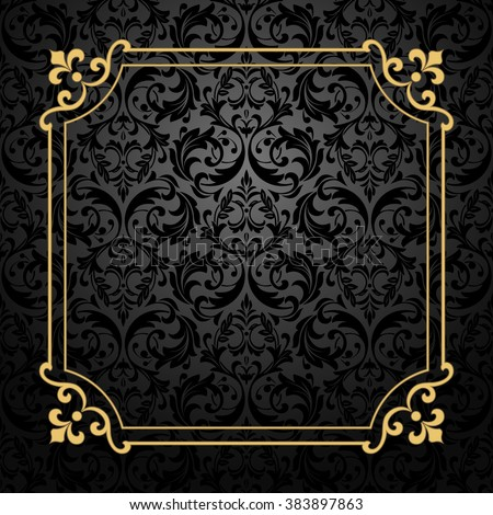 Vintage Gold Frame On Black Background Stock Vector Royalty Free
