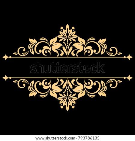 7ba4518d2b21 Vintage gold frame on a black background. Graphic vector design. Damask  graphic ornament.