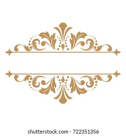 Vintage gold frame on a white background. Graphic vector design.