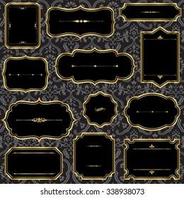 Vintage Gold Frames on Damask Background - Set of gold vintage frame and label shapes on damask background.  Damask pattern swatch is in the swatches panel.  File is layered for easy editing.
