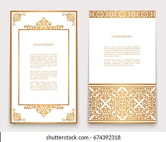 Vintage gold frames with swirly border and corner patterns on white, ornate golden decoration for greeting card or invitation design, eps10 vector illustration