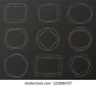 Vintage gold geometric frames pack. Decorative luxury line borders for invitation, card, sale, photo etc. Vector illustration