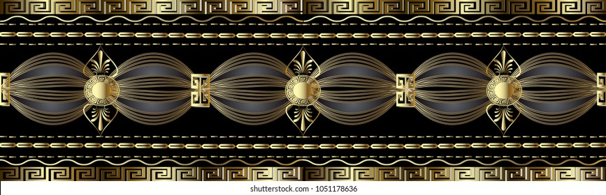 Vintage gold greek 3d border. Vector meanders seamless pattern. Abstract background. Modern ornament with stripes, stitches, waves, lines, shapes, flowers, circles, greek key borders. For wallpapers.