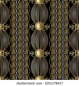 Vintage gold greek 3d seamless pattern. Abstract vector meanders background. Modern ornament with vertical stripes,  waves, lines, shapes, flowers, circles, greek key borders. For wallpapers, fabric