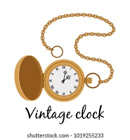 Vintage gold hands watch isolated on white background, vector illustration