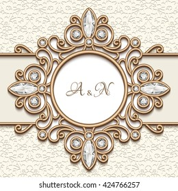 Vintage gold jewelry frame, vector label with diamond decoration on ornamental background