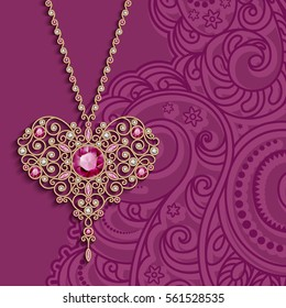 Vintage gold jewelry pendant in shape of heart decorated with diamonds and ruby gems, vector women's decoration on pink background, greeting card or invitation template, eps10