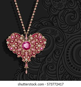 Vintage gold jewelry pendant in shape of heart decorated with diamonds and ruby gems, vector women's decoration on black background, stylish greeting card or invitation template, eps10