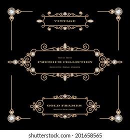 Vintage gold jewelry vector frames, set of filigree vignettes, labels, chapter dividers on black, eps10