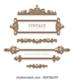 Vintage gold jewelry vignettes and dividers, vector set of decorative jewellery design elements on white background, eps10