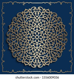Vintage gold mandala circle pattern, crochet lace doily, golden Christmas ornament on dark blue background, cutout paper snowflake, swirly vector template for laser cutting