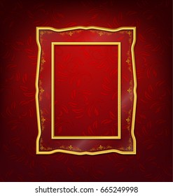 vintage gold picture frame on red wall