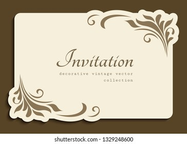 Vintage gold rectangle frame with floral corner decoration and cutout paper border, vector wedding invitation or name card template