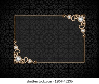 Vintage gold rectangle frame, stylish card with jewellery corner decoration on black ornamental background, vector illustration