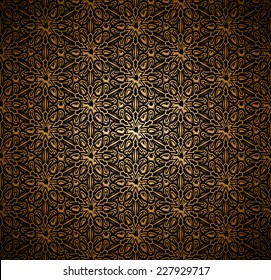 Vintage gold seamless pattern, ornamental vector background