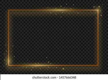 Vintage gold shiny glowing frame. Modern luxury realistic rectangle border with shadows isolated on dark transparent background, vector banner