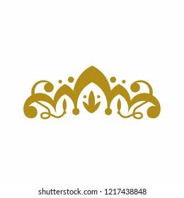 Vintage Gold Tiara Elegant  Logo. Vector