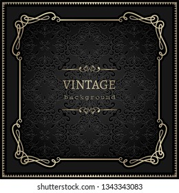 Vintage gold vector background, antique square frame with swirly corners on black