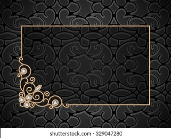 Vintage gold vector background, rectangle gold frame with swirly corner ornament, eps10