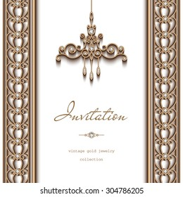 Vintage gold vector frame, invitation template, ornate chandelier and jewelry borders on white background, eps10