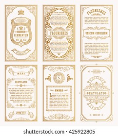 Vintage gold vector set retro cards. Template greeting card wedding invitation. Line calligraphic frames. Floral royal engraving design labels advertising place for text. Flourishes frame background