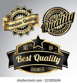 vintage golden black premium quality labels