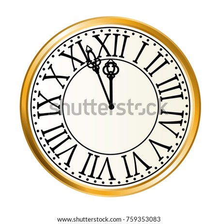 vintage golden clock for new year eve design